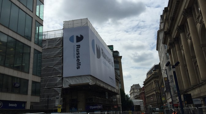 Large banner installation Cross Street Manchester